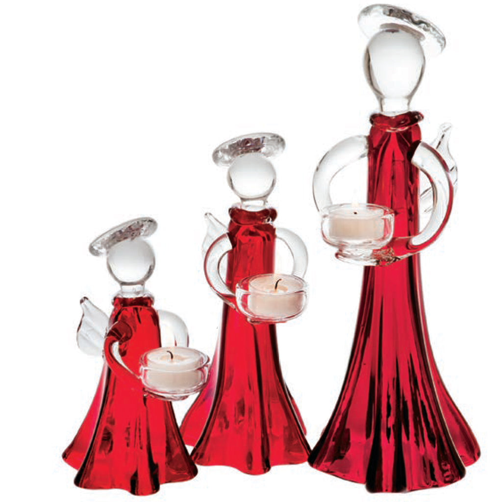 Angel Votive Holder, Red and Clear, Medium