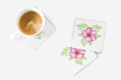 SET OF 4 Coasters with Tropical Flower