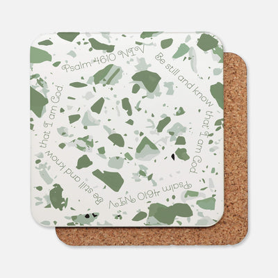 SET OF 4 Coasters with Sage Green Terrazzo Design