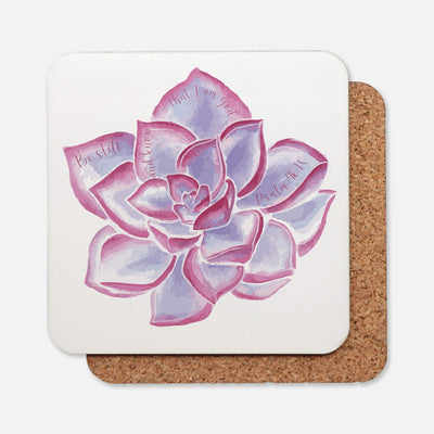 SET OF 4 Coasters with Purple Succulent