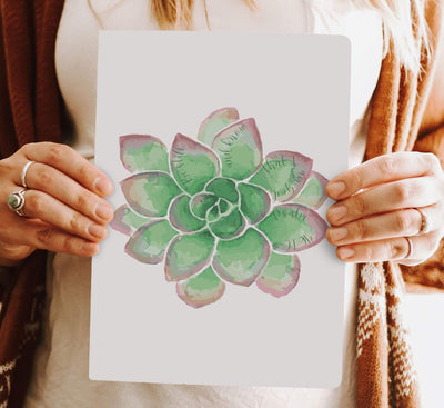 Journal with Green Succulent Design