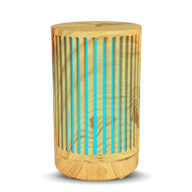 100ml Air Humidifier wood Hollow cylinder Electric Essential Oil Diffuser