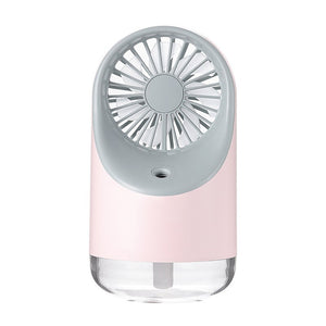 Portable Handheld Humidifier Fan USB Mini Air Cooling Diffuser Fan With LED