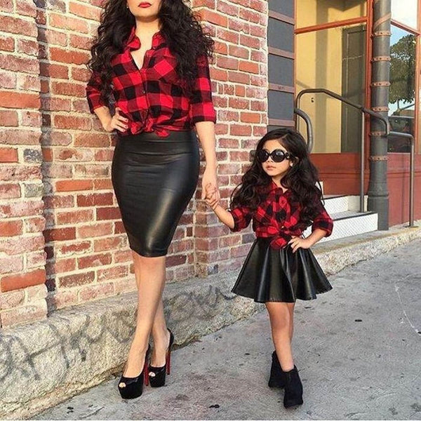 Leather Skirt Top Shirt Mom and daughter Fashion
