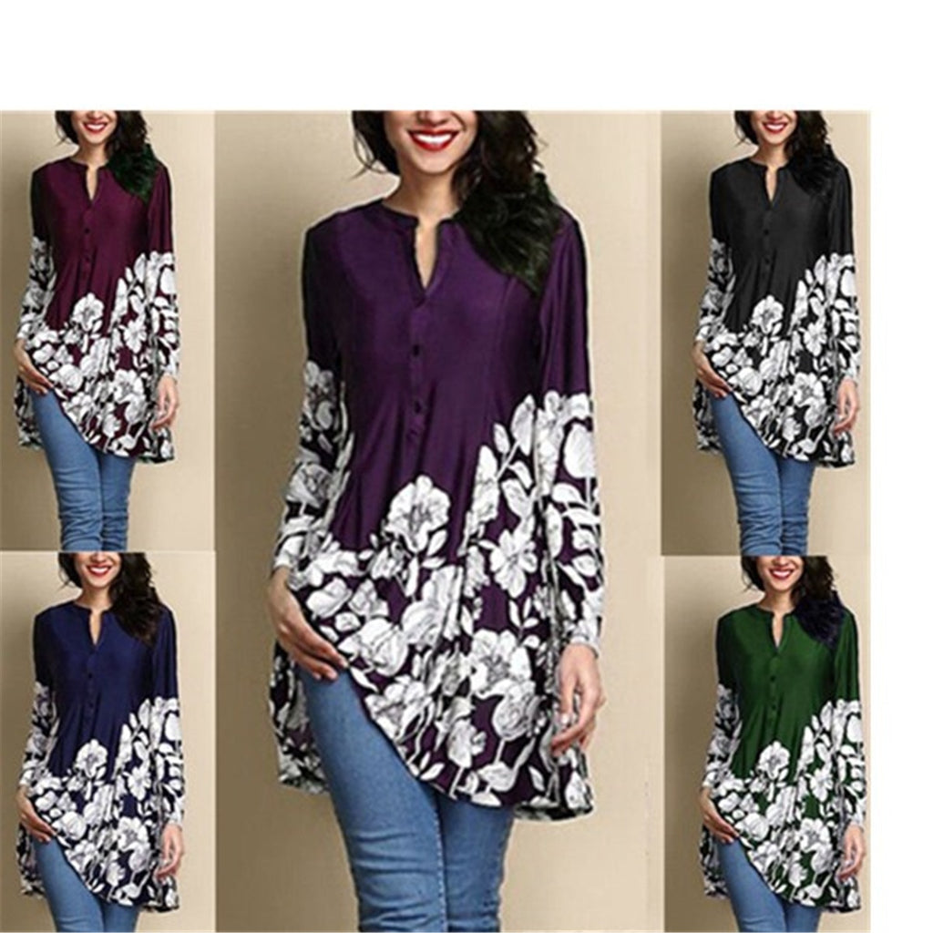Women Loose Long Sleeve Print Casual Blouse