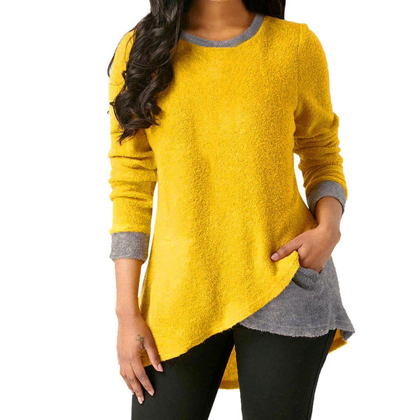 Women Tops Tunic Blouses Long Sleeves Stitching