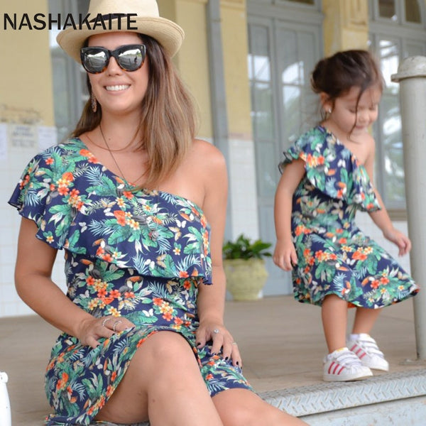 One Shoulder Leaf Print  Mini Dress