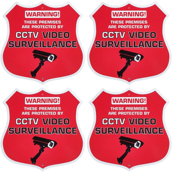 Red Badge CCTV Surveillance Warning Stickers 4-Pack