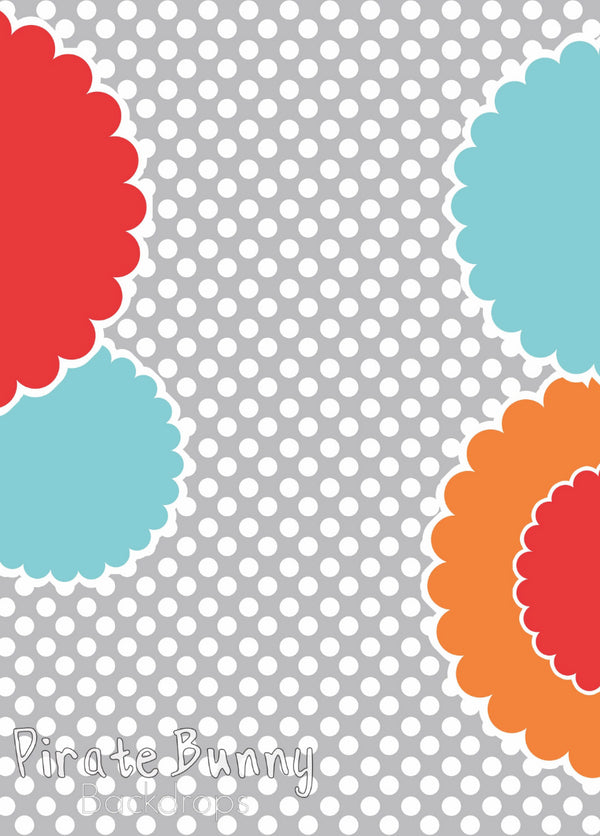 Bright Flowers on Gray Dots