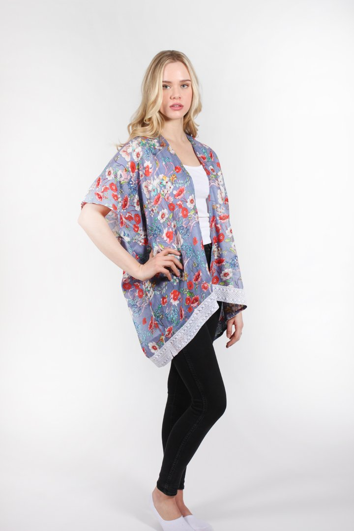 "SRTO175 - Floral Printed Tie Front Shawl ""30X31"""