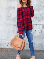Long Sleeve Shirts for Women Fashion Plaid Shirts Off Shoulder Elegant Tops Casual Blouses