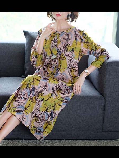 2019 New Popular Long Section Large Size Spring Dress Ladies Print Skirt