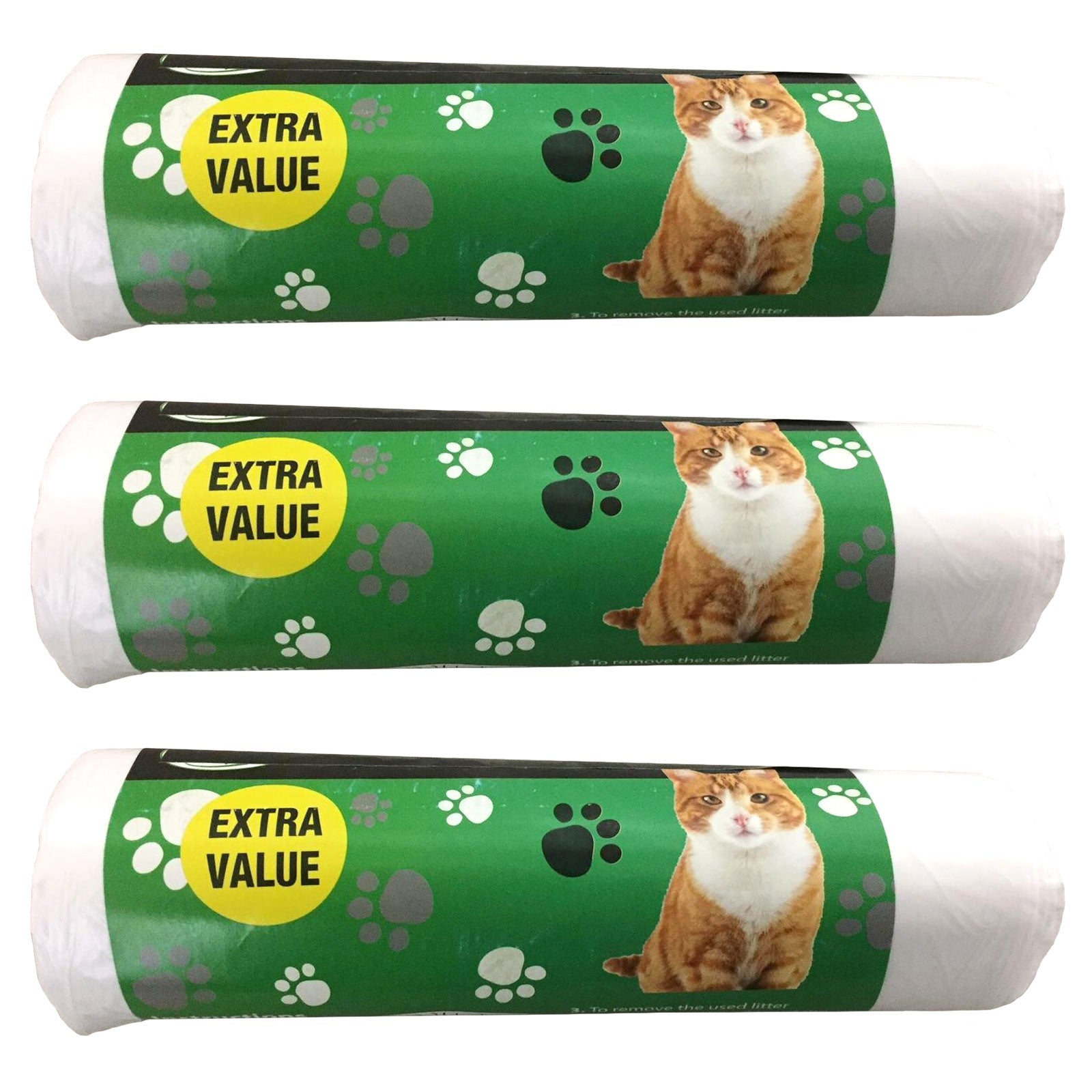 TidyZ 30 Cat Litter Liners Extra Strong Disposable White Tray Bags 70 x 40 cm