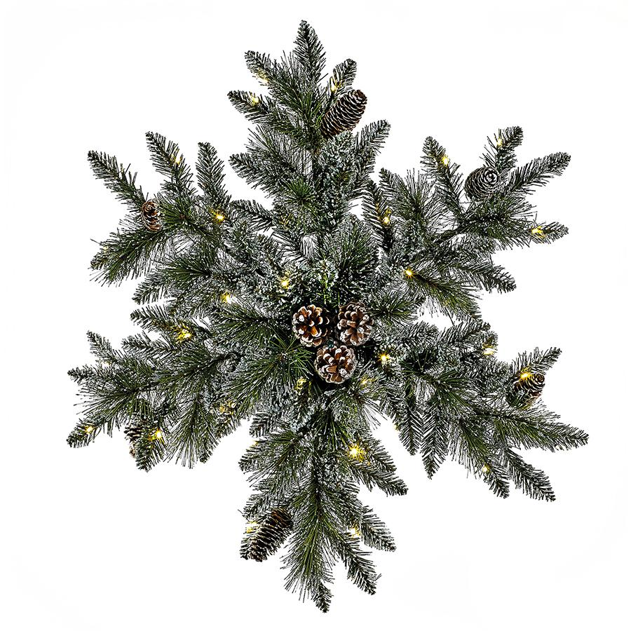 Kurt Adler 32-Inch Battery-Operated Pre-Lit LED Snowflake Indoor/Outdoor Wreath, P7505LED