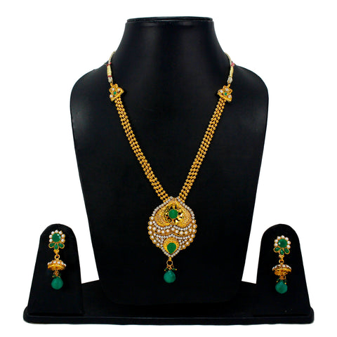 OyeTrend Heavy Green Pendant Necklace With Jhumki For Women