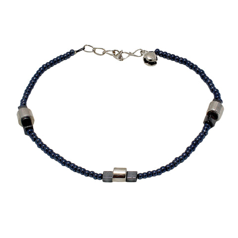 OyeTrend Grey Pearl Embellished Metallic Anklet For Girls