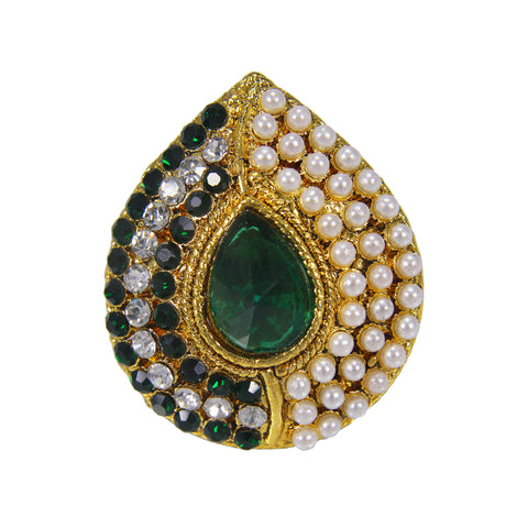 OyeTrend GreenStone And Pearl Embellished Ring