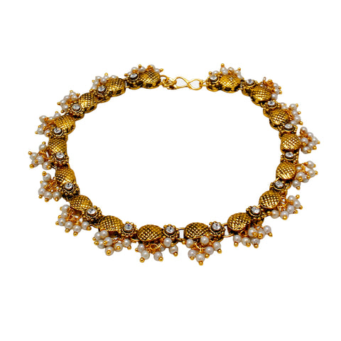 OyeTrend Antique Gold Plated Traditional Anklet With Dangling Pearl