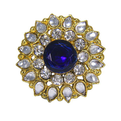 OyeTrend Floral Design Ring With Royal Blue Stone