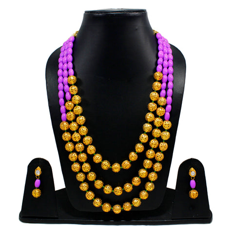OyeTrend Purple And Golden Beads Embellished Three Layer Necklace Set