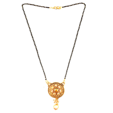 OyeTrend Mangalsutra With Golden Stones And Pearl