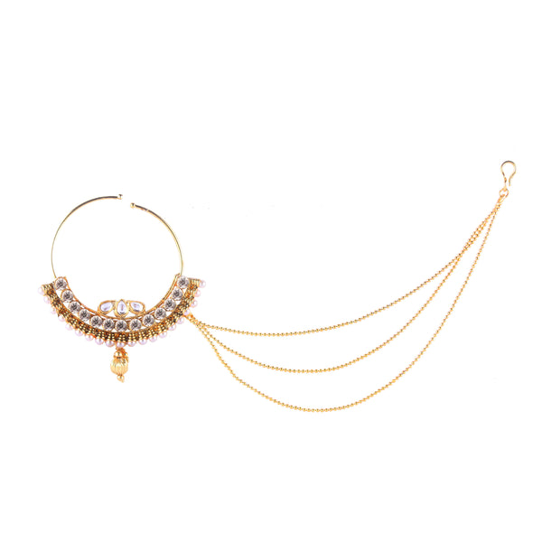 OyeTrend Gold Plated Heavily Embellished Nath In Silver Stones And Pearl