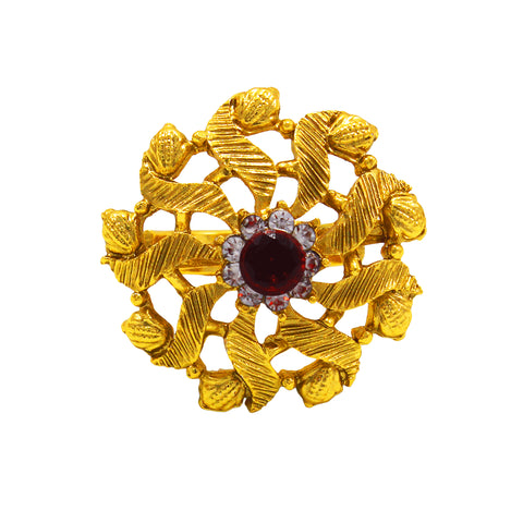 OyeTrend Gold Plated Ethnic Ring With Red Stone