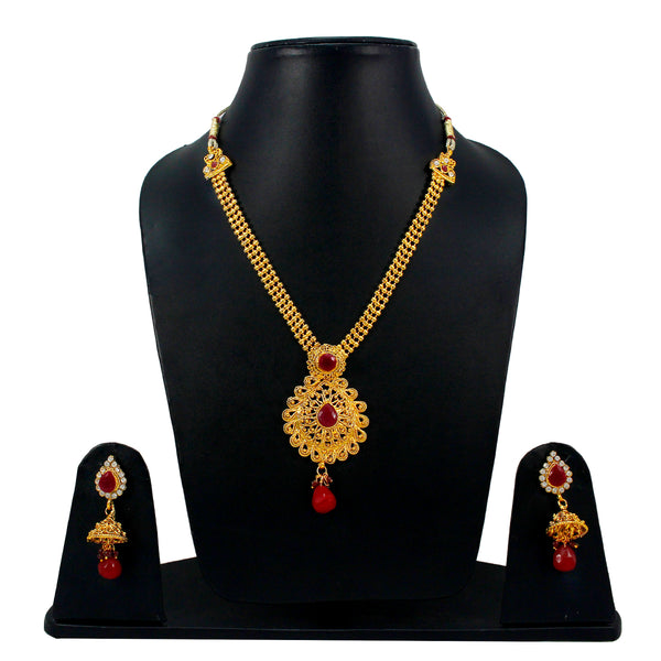 OyeTrend Pendant Necklace Set With Red Stone