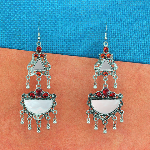 OyeTrend Gorgeous Silver Plated Mirror Earrings With Red Stone