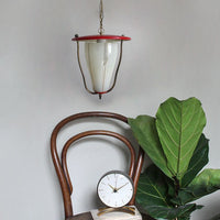 1950s pendant lantern/ ceiling light. Red lacquer, brass, glass