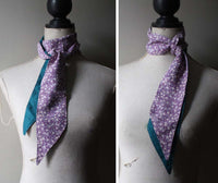Skinny Silk Scarf. Organic Cotton. Lilac and Teal.