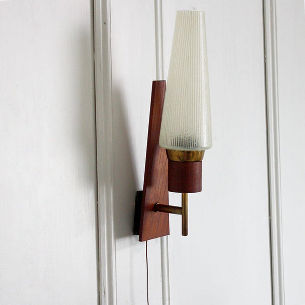 1960s Danish Sconce / Wall Light. Teak, Glass, Brass