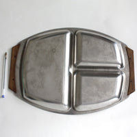 Stainless steel and teak serving dish. Large 3-section 1960s oblong dish