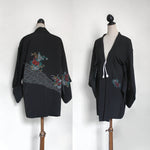Black Vintage Silk Haori Jacket/ oversized cardigan/ silk gown. Embroidered detail. One size
