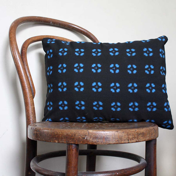 Geometric Woven Ikat Decorative Pillow cover. blue Black Retro Cushion Cover. Recycled Kimono