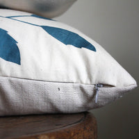 Teal blue branch screen printed cushion cover. 30x60cm. 12x24''. Sample Sale