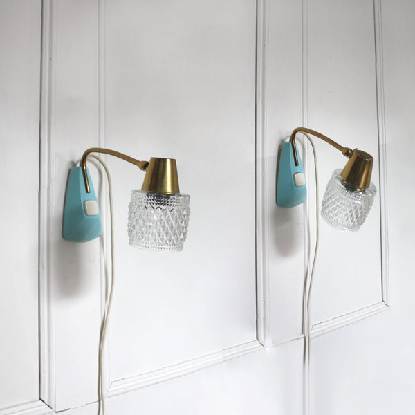Light blue Mid-century Modern accent table lamps OR wall lights