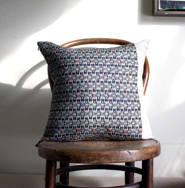 Kimono Cushion cover. Geometric Print in Blue, Red, Cream.