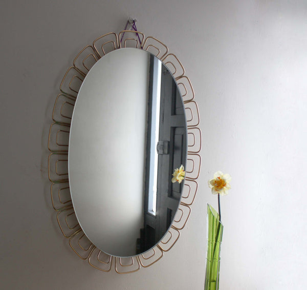 1960s Illuminated Oval Wall Mirror. Large Bathroom Mirror