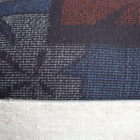 Indigo, Red, Grey Silk Decorative Pillow cover. kimono silk and linen