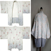 Vintage silk haori. Shibori Light blue-grey, pink