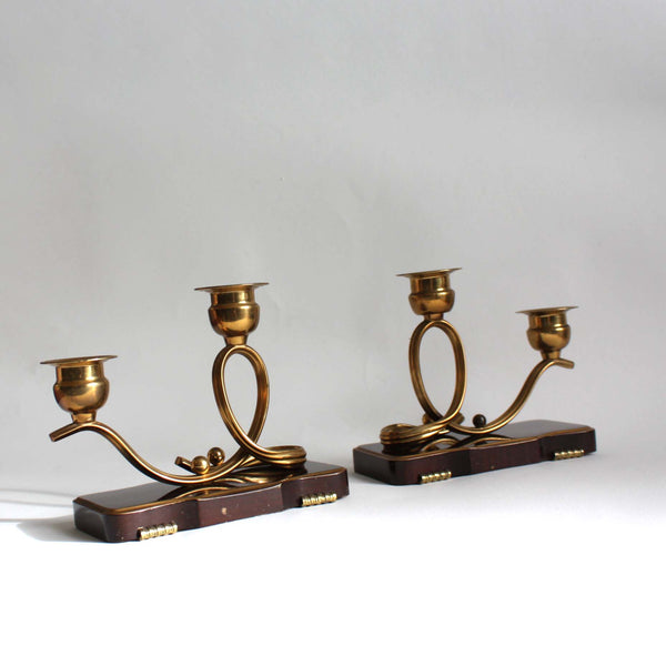Pair of 1950s candleholders, dark wood and brass