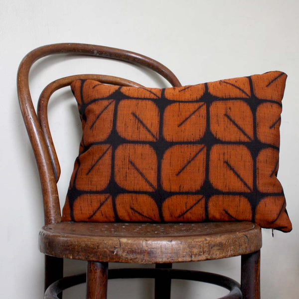 Orange and Black Retro Cushion Cover. Geometric Ikat