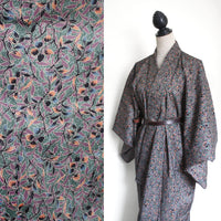Vintage wool kimono floral green pink purple, one size