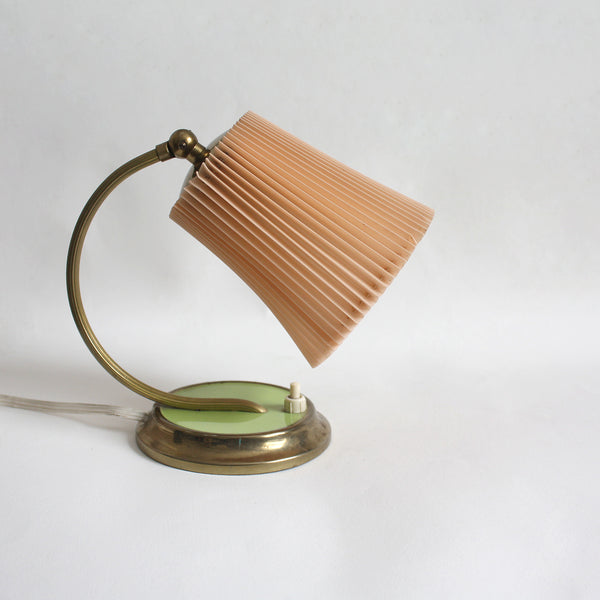1950s table lamp with lime-green base and pleated peach lampshade