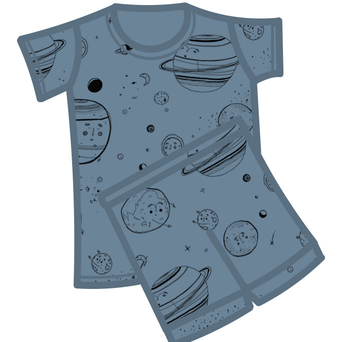 G.Nancy Chalk Celestial Short Sleeve PJ Set-Clothing-BabyDonkie