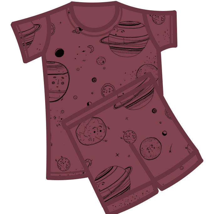 G.Nancy Currant Celestial Short Sleeve PJ Set-Clothing-BabyDonkie