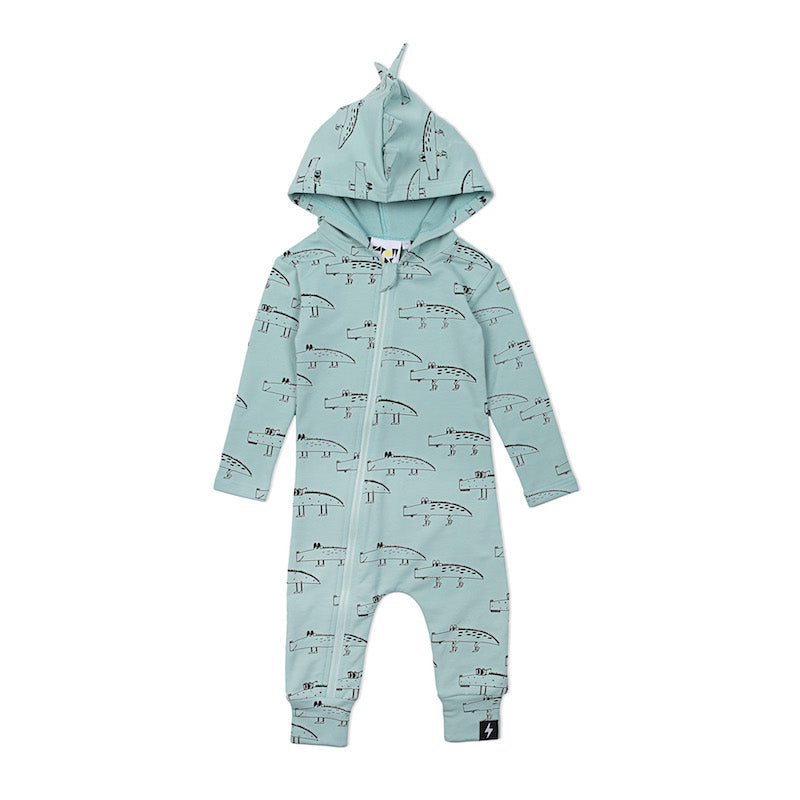 Kapow Kids Crocodile Hooded Zip All in one-Clothing-BabyDonkie