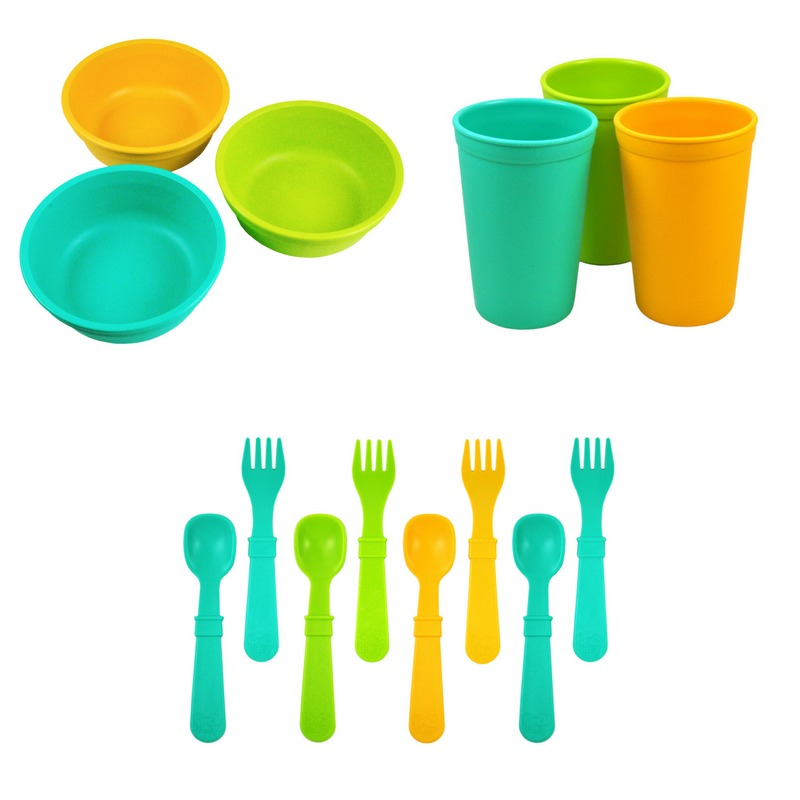 Replay Bowl Tumbler Cup and Utensils Packaged Set - Aqua, Green and Sunny Yellow-Dinnerware-BabyDonkie