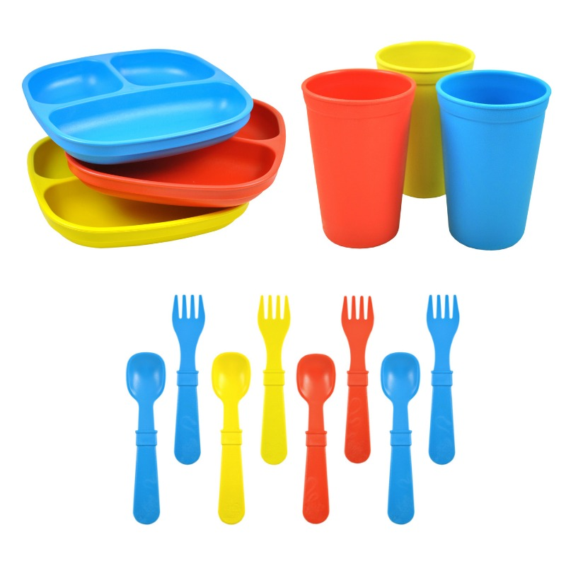 Replay Divided Plate Tumbler Cup and Utensils Packaged Set - Sky Blue, Yellow, Red-Dinnerware-BabyDonkie